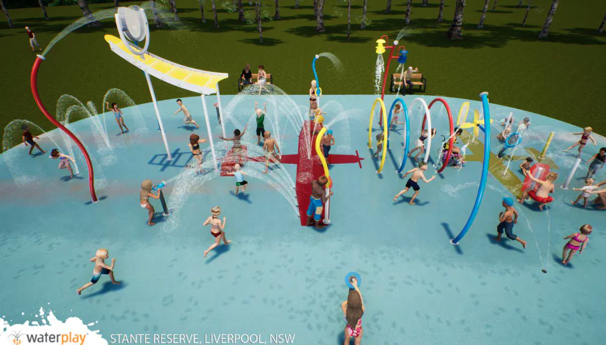 An artists impression of the water play area with kids enjoying the facilities